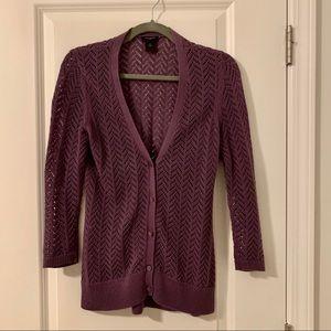 Purple V-neck Cardigan